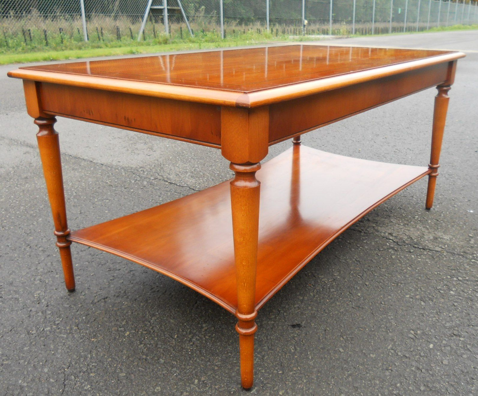 Bradley Coffee Table.Georgian Style Long Yew Two Tier Coffee Table By Bradley